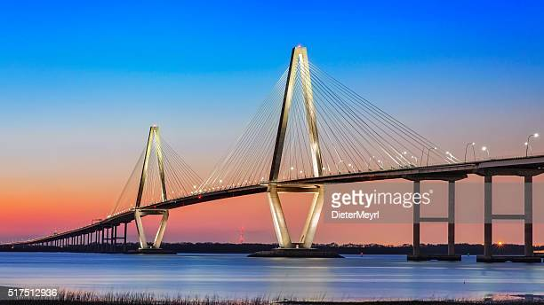 cooper river bridge in charleston sc - suspension bridge stock photos and pictures