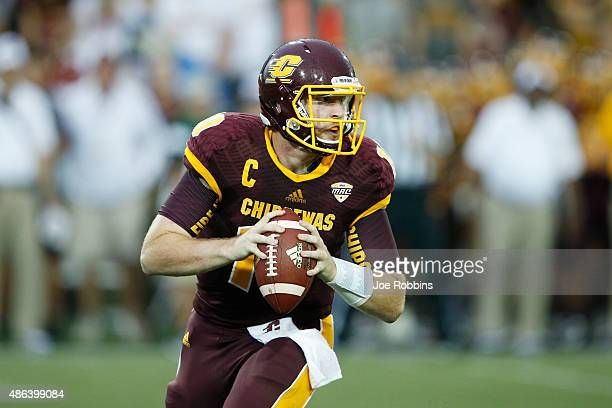Cooper Rush of the Central Michigan Chippewas looks to pass in the first half against the Oklahoma State Cowboys at Kelly/Shorts Stadium on September...