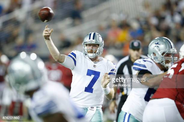 Cooper Rush of the Dallas Cowboys throws a pass in the third quarter of the NFL Hall of Fame preseason game against the Arizona Cardinals at Tom...