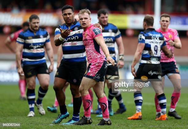 Cooper Vuna of Bath and Stuart Townsend of Exeter Chiefs react during the AngloWelsh Cup Final between Bath Rugby and Exeter Chiefs at Kingsholm...