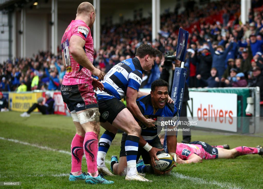Cooper Vuna of Bath celebrates scoring a try during the Anglo-Welsh Cup Final between Bath Rugby and Exeter Chiefs at Kingsholm Stadium on March 30, 2018 in Gloucester, England.