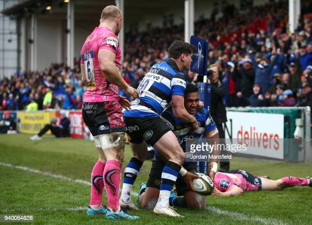 Cooper Vuna of Bath celebrates scoring a try during the AngloWelsh Cup Final between Bath Rugby and Exeter Chiefs at Kingsholm Stadium on March 30...