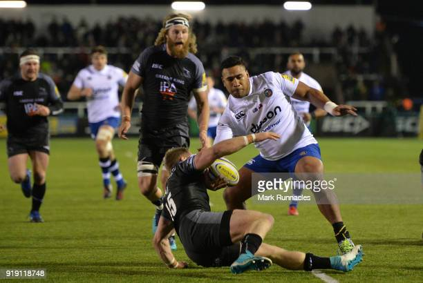 Cooper Vuna of Bath Rugby is tackled by Alex Tait of Newcastle Falcons during the Aviva Premiership match between Newcastle Falcons and Bath Rugby at...