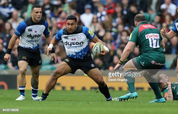 Cooper Vuna of Bath runs with the ball during the Aviva Premiership match between Bath Rugby and Leicester Tigers at Twickenham Stadium on April 7...