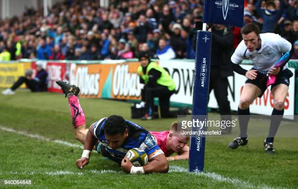 Cooper Vuna of Bath scores a try during the AngloWelsh Cup Final between Bath Rugby and Exeter Chiefs at Kingsholm Stadium on March 30 2018 in...