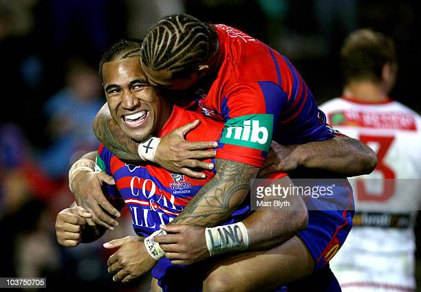 Cooper Vuna of the Knights celebrates scoring a try during the round 25 NRL match between the Newcastle Knights and the St George Illawarra Dragons...