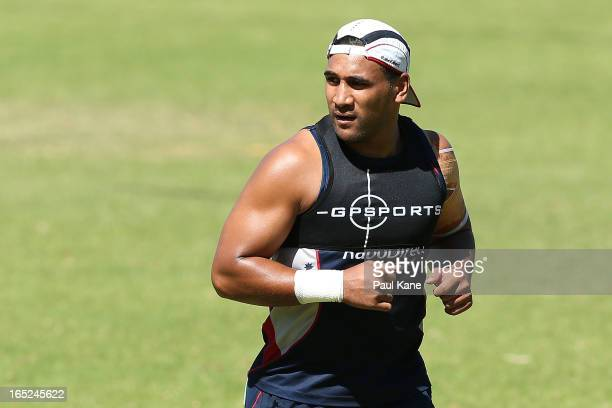 Cooper Vuna of the Rebels looks on during a Melbourne Rebels training session at Associates on April 2 2013 in Perth Australia