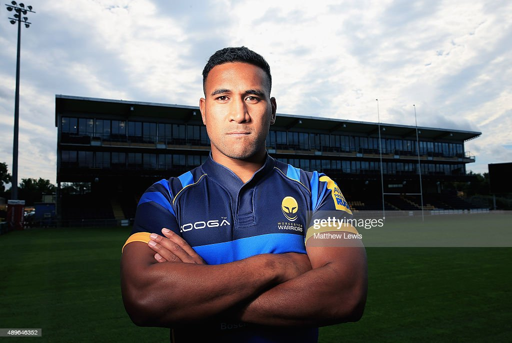 Cooper Vuna of Worcester Warriors poses for a portrait at the photocall held at Sixways Stadium on September 23, 2015 in Worcester, England.