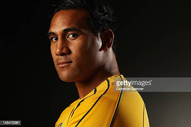 Cooper Vuna poses during an Australian Wallabies portrait session at Crowne Plaza Coogee on May 30 2012 in Sydney Australia