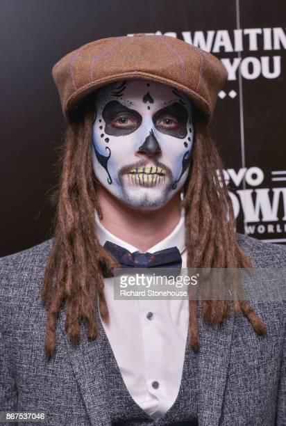 Cooper with a skull facepaint arriving at the Vevo Halloween concert at Victoria Warehouse on October 28 2017 in Manchester England