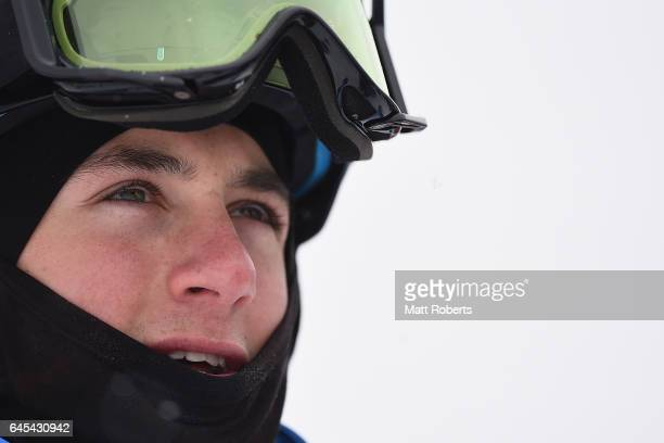 Cooper WoodsTopalovic of Australia looks on during the men's freestyle moguls on day nine of the 2017 Sapporo Asian Winter Games at Sapporo Bankei...