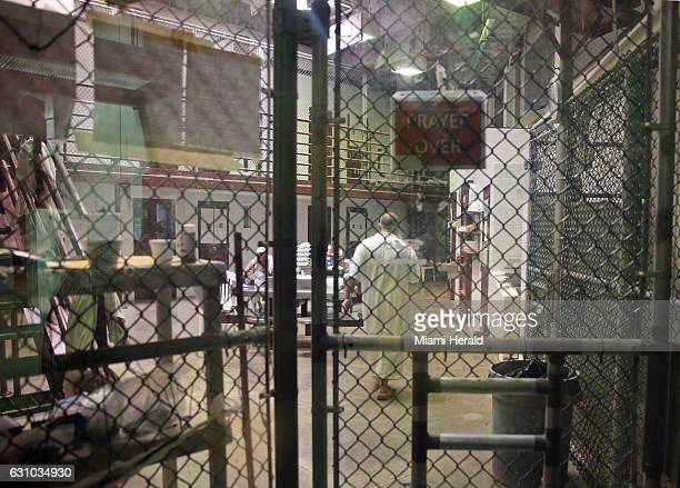 A cooperative captive inside a communal cellblock at Camp 6 at the US Navy base at Guantanamo Bay Cuba on February 9 in this photo approved for...