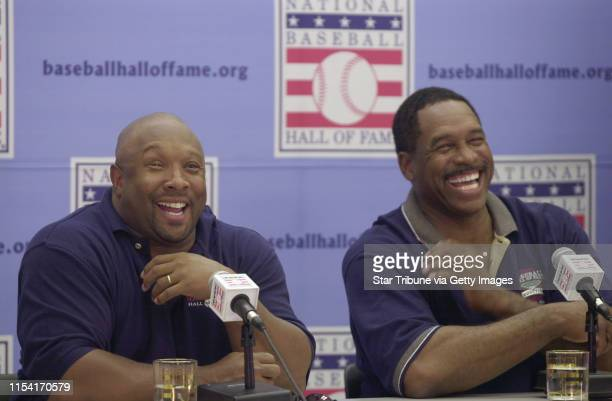 Cooperstown New York 8/4/01 Kirby Puckett Dave Winfield Playing in Hall of Fame Golf Tournament and Press confrenceFormer Minnesota Twins Kirby...