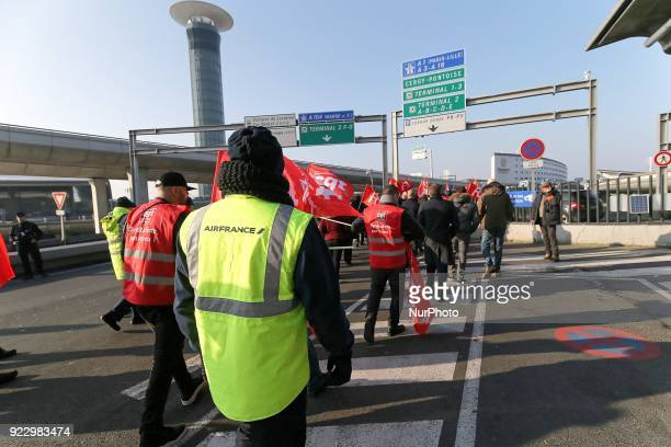 Coordinated oneday strike involving Air France pilots cabin crew and ground staff at Roissy CharlesdeGaulle airport in RoissyenFrance near Paris on...