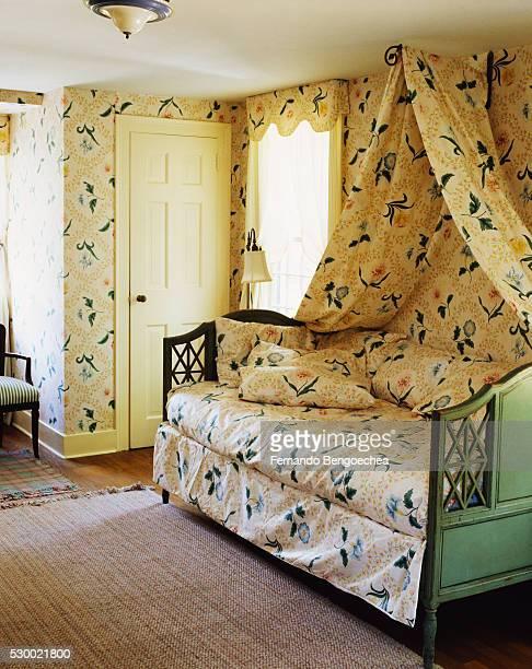 Coordinating Wallpaper and Fabrics in Bedroom