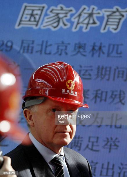Coordination Commission Chairman Hein Verbruggen visits the construction site of Beijing National Stadium nicknamed the 'Bird Nest' on April 17 2007...
