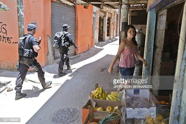 A Coordination of Special Resources policemen patrol at Morro do Alemao shantytown on November 29 2010 in Rio de Janeiro Brazil Police scoured the...