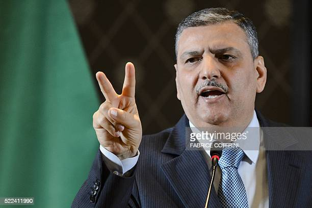 HNC coordinator Riad Hijab shows gestures during a press conference of the HCN in Geneva on April 19 2016 Syria's opposition has postponed its...