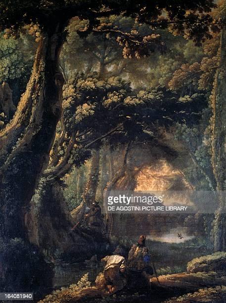 Coot hunting by Michelangelo Cerquozzi known as Michelangelo delle Battaglie oil on canvas 67x51 cm Rome Galleria Nazionale D'Arte Antica Di Palazzo...