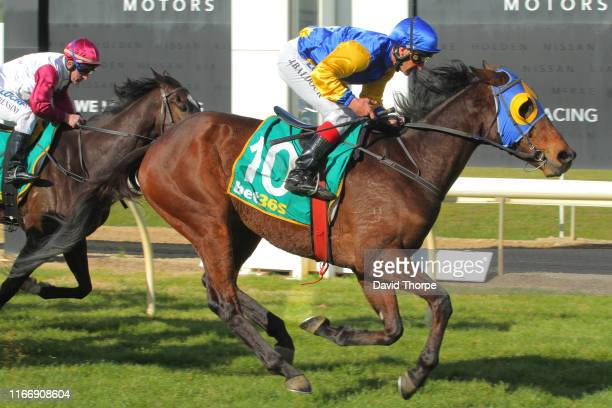 Cooter Cha Cha ridden by Jason Baldock wins the Fashionable Shade Sails BM58 Handicap on September 09 2019 in Wodonga Australia