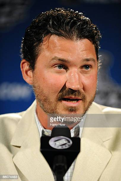 CoOwner and Chairman of the Pittsburgh Penguins Mario Lemieux talks to the media before Game 1 of the 2009 Stanley Cup Finals against the Detroit Red...