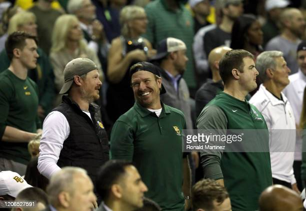 Co-owner and co-founder of Magnolia Chip Gaines attends a game between the West Virginia Mountaineers and the Baylor Bears during the second half at...