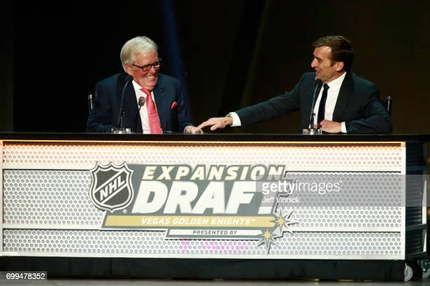 Coowner Bill Foley left and general manager George McPhee of the Vegas Golden Knights make their selection onstage during the 2017 NHL Awards...