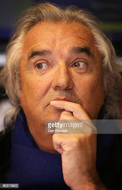 QPR coowner Flavio Briatore looks on during the Queens Park Rangers Kit Launch at Loftus Road Stadium on March 25 2008 in London England