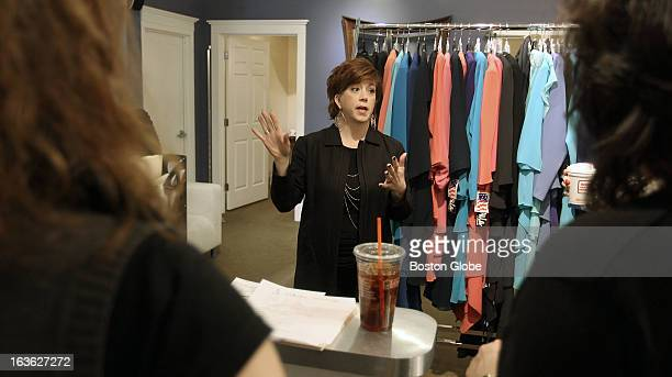 Bella sera bridal stock photos and pictures getty images coowner heidi nicholson gives her employees a pep talk before brides rush into bella sera bridals junglespirit Gallery