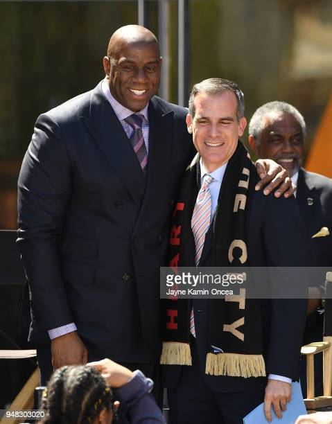 Coowner Magic Johnson of the Los Angeles FC with the Mayor of Los Angeles Eric Garcetti at the ribbon cutting ceremony for the new Banc of California...