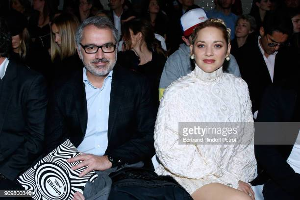 CoOwner of Gaultier Marc Puig and Marion Cotillard attend the JeanPaul Gaultier Haute Couture Spring Summer 2018 show as part of Paris Fashion Week...