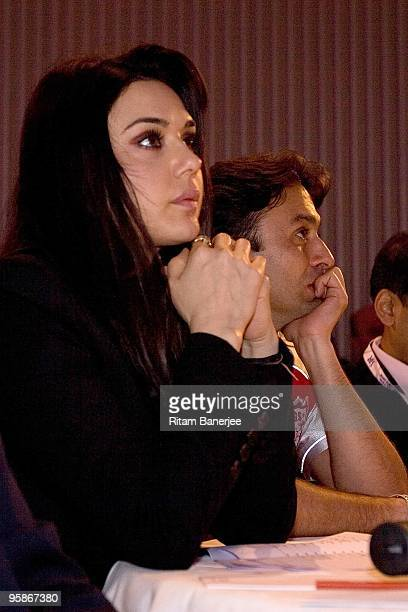 Coowner of Kings XI Punjab and a Bollywood actor Preity Zinta at the Indian Premier League Auction 2010> on January 19 2010 in Mumbai India