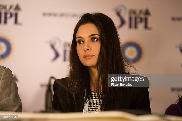 Co-owner of Kings XI Punjab Preity Zinta attends a press conference during the Indian Premier League Auction 2010 on January 19, 2010 in Mumbai,...