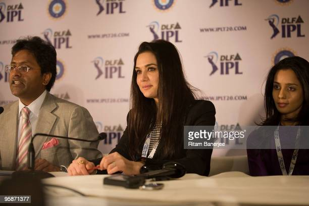 Coowner of Kings XI Punjab team Preity Zinta with Commissioner and Chariman of IPL Lalit Modi and Gayatri Reddy of Deccan Chargers team attend a...