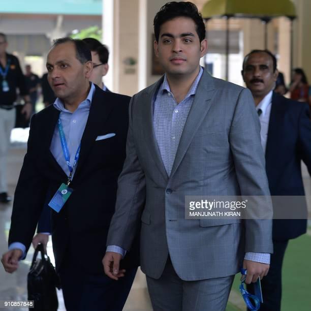 CoOwner of Mumbai Indians Team Akash Ambani arrives for for the IPL 2018 Player Auction in Bangalore on January 27 2018 / AFP PHOTO / MANJUNATH KIRAN