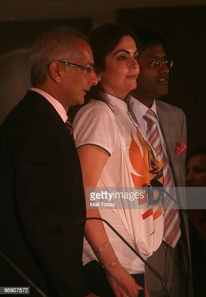 Coowner of Mumbai Indians team Neeta Ambani and Jay Mehta alongwith Lalit Modi attend a press conference after the Indian Premier League auction at...