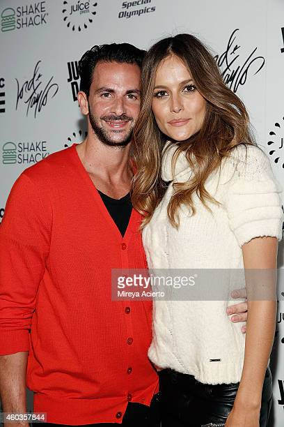 Coowner of Provocateur nightclub Michael Satsky and fiance model Natalia Borges attend 2014 Republic Records Holiday Party on December 11 2014 in New...