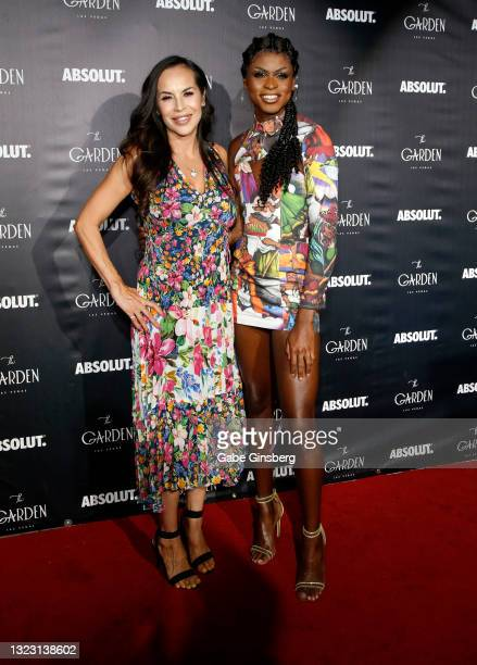 """Co-owner of The Garden Las Vegas Edith Castillo and """"RuPaul's Drag Race"""" season 13 winner Symone attend the one year anniversary party at The Garden..."""