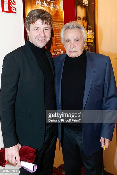 Coowner of the Theater Richard Caillat and singer Michel Sardou attend the 'Salle Rejane' Opening party in 'Theatre de Paris' on February 11 2014 in...