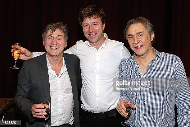 Coowner of the Theater Richard Caillat standing between actors of the drama Daniel Auteuil and Richard Berry after the last theater play of 'Nos...