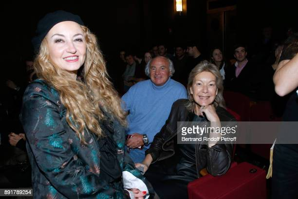 CoOwner of the 'Theatre de la Tour Eiffel' Christelle Chollet with Christine Borgoltz and her husband Serge Halff attend Fred Testot performs in his...