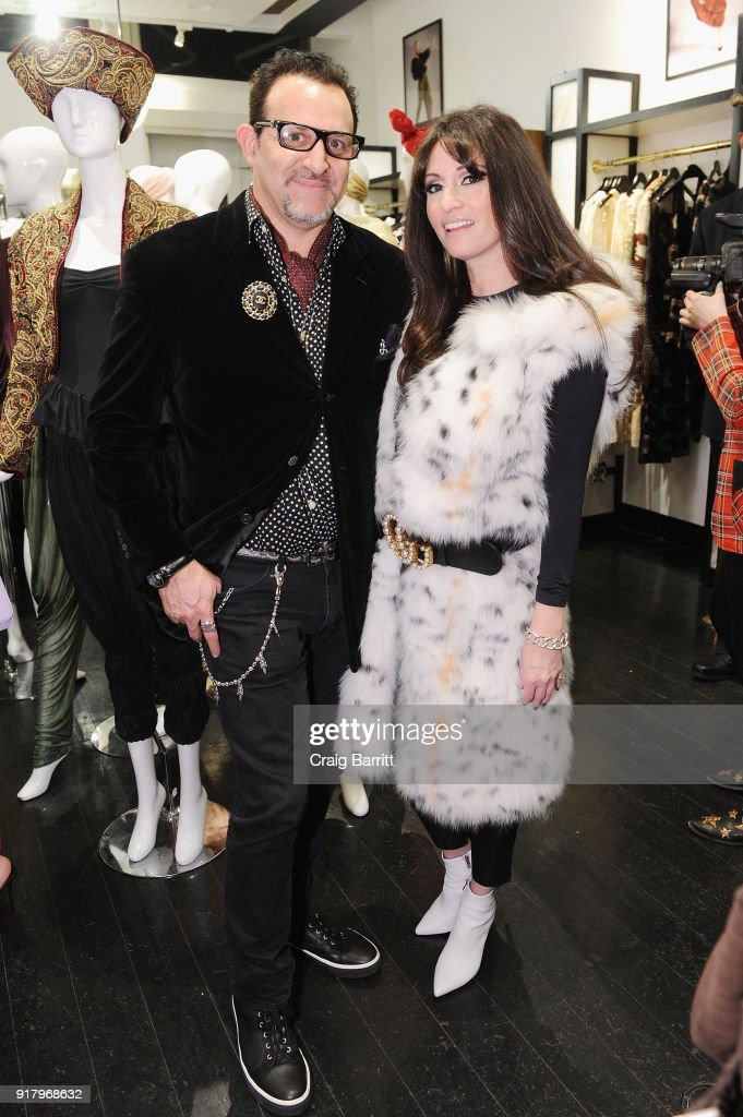 Co-owner of What Goes Around Comes Around, Seth Weisser (L) and Stacy Weisser attend Vintage For The Future: A Norma Kamali Retrospective by What Goes Around Comes Around on February 13, 2018 in New York City.