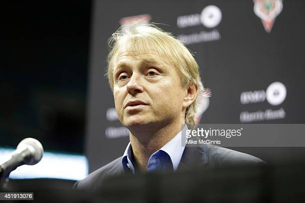 Coowner Wesley Edens attends a Press conference announcing Jason Kidd as the new Head Coach of the Milwaukee Bucks at BMO Harris Bradley Center on...