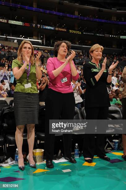 CoOwners Carla Christofferson and Kathy Goodman of the Los Angeles Sparks watch the game from the sidelines with guest head coach of the Tennessee...