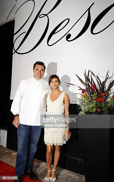 Coowners Chef Todd English and actress Eva Longoria Parker attend the 'HORNITOS Tequila Presents Beso Restaurant Grand Opening' coowned by Eva...