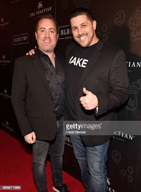 Coowners Chris Barish and Joe Isidori attend the grand opening of Black Tap Craft Burgers Beer at The Venetian Las Vegas on December 29 2017 in Las...