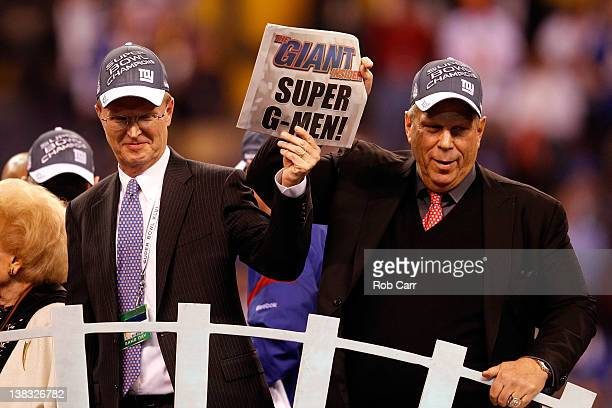 CoOwners John Mara and Steve Tisch celebrate after the New York Giants defeated the New England Patriots 2117 to win Super Bowl XLVI at Lucas Oil...
