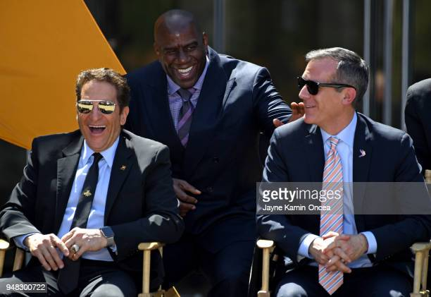Coowners Magic Johnson and Peter Gruber of the Los Angeles FC share a laugh with the Mayor of Los Angeles Eric Garcetti at the ribbon cutting...