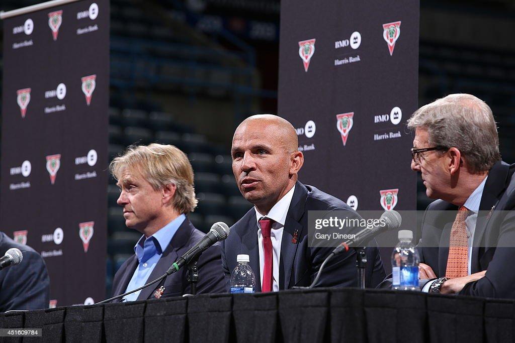 Co-owners Marc Lasry and Wesley Edens, and general manager John Hammond of the Milwaukee Bucks introduce Jason Kidd as the new head coach during a press conference at the BMO Harris Bradley Center on July 2, 2014 in Milwaukee, Wisconsin.