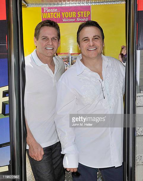 Co-owners of the Sacramento Kings of the NBA Joe Maloof his brother George Maloof at the inauguration of CitySights a new way of sightseeing in Los...